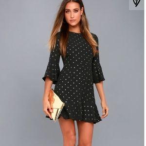Lulu's black & gold polka dot dress